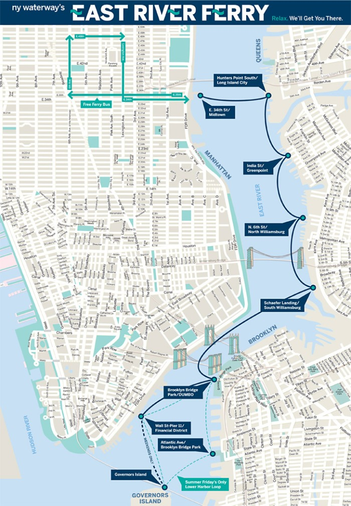 NYC East River Ferry Map